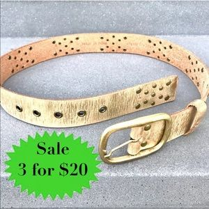 Vintage GOLD LEATHER belt distressed studs western